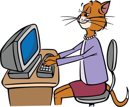Graphic of cat using a computer